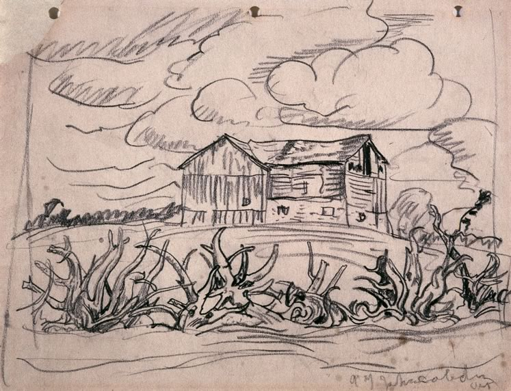 'Old Barn Near Caledon, Ontario' (c.1930) by A.Y. Jackson. Drawing on paper. On loan from the McMichael Canadian Art Collection.