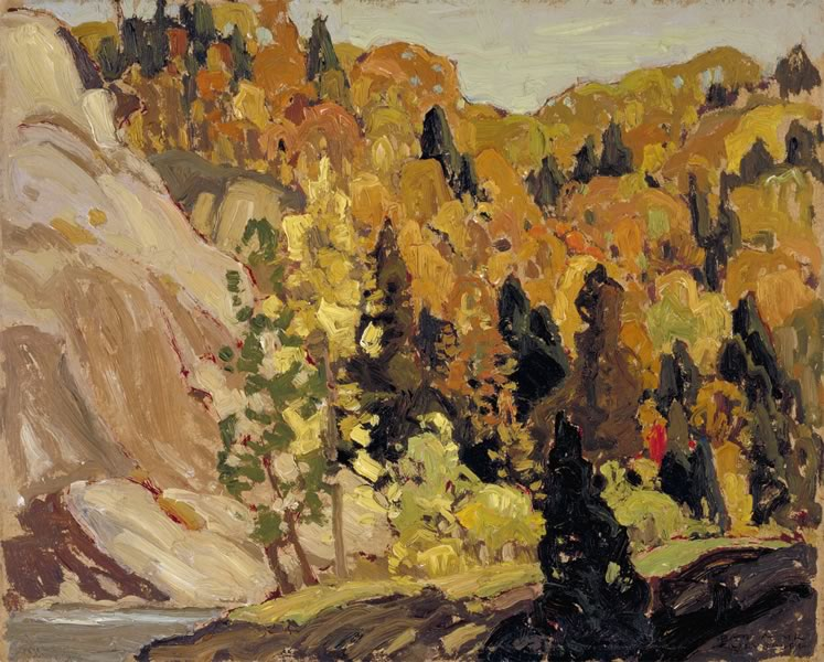 'Bolton Hills' (c.1922) by Franklin Carmichael. Oil on wood panel, 24.7 x 30.4 cm. On loan from the McMichael Canadian Art Collection. Gift of the founders, Robert and Signe McMichael.