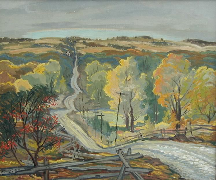 'Inglewood Road, Caledon Mountain' (c.1950) by George Broomfield. Oil on canvas. Collection of the Art Gallery of Peel. Gift of the Art Gallery of Peel Association.