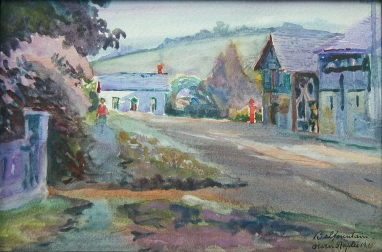 'Belfountain' (1931) by Owen Staples. Watercolour on paper. Collection of the Art Gallery of Peel. Gift of the Art Gallery of Peel Association.