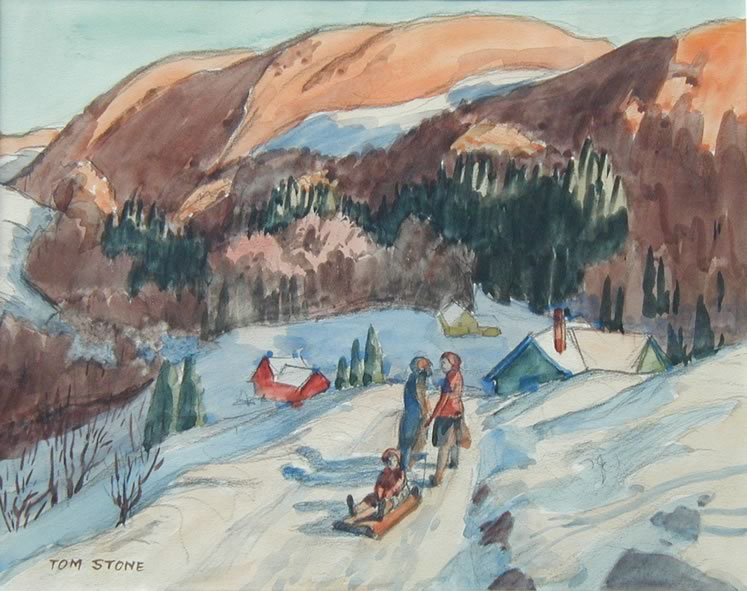 'Early Days at the Forks of the Credit' (c.1930) by Tom Stone. Watercolour on paper. Collection of the Art Gallery of Peel.