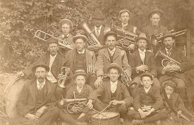 Sam Raeburn (back) and William Stubbs (centre) played in the Charleston band.