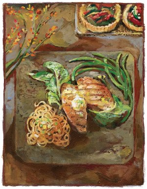 BBQ Fish, tarts and green beans. Illustration by Shelagh Armstrong.