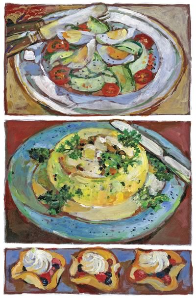 Quick Cucumber Salad • Brussels Sprout Flan with Mushroom Sauce • Wafer Cups with Berries and Cream • Deliciously Illustrated by Shelagh Armstrong.