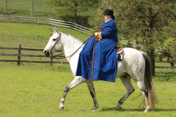 Joanne Milton demonstrates sidesaddle: something out of a romantic novel. Photo by Pete Paterson.