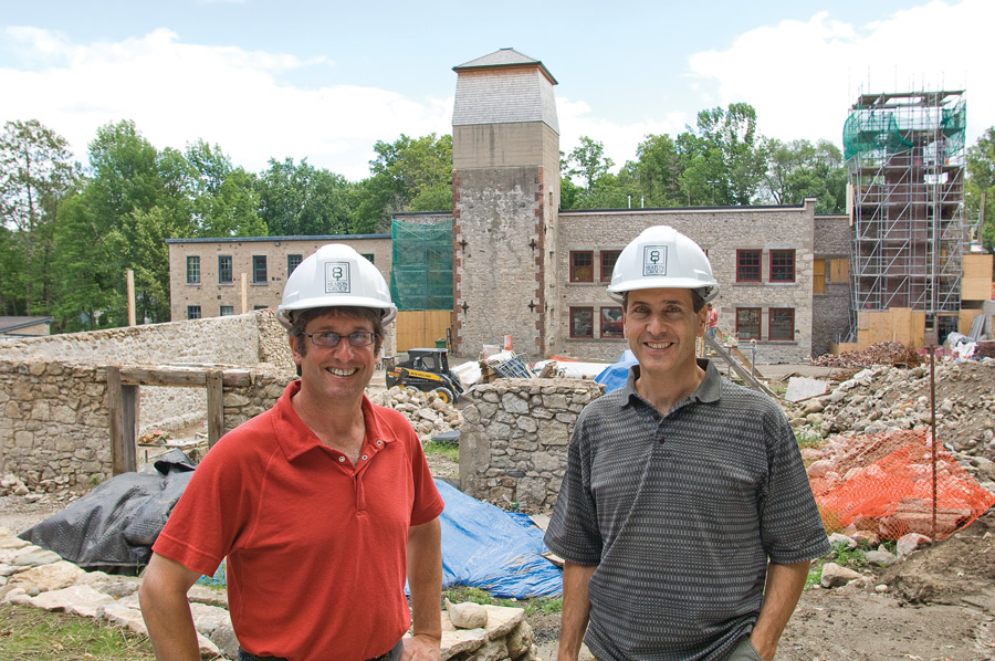 Jeremy and Jordan Grant on site just one month ago: phase two required three times as much structural restoration as they first anticipated. Photo by Pete Paterson.