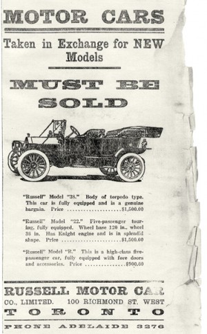 This ad appeared in The Shelburne Economist in 1914. The Russell Motor Car was a popular and reliable Canadian auto. A subsidiary of CCM, Russell converted to war production in 1915 and after the war sold out to Willys-Overland in the U.S. Photo Courtesy Dufferin County Museum And Archives.
