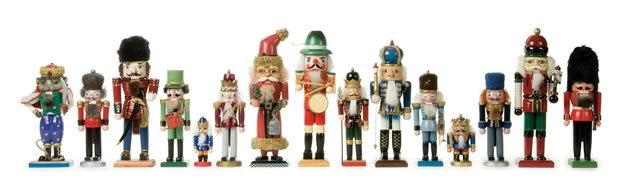 Michele's mother's nutcracker collection. The tall Santa nutcracker is an interloper from Michele's collection. Photo by Pete Paterson.