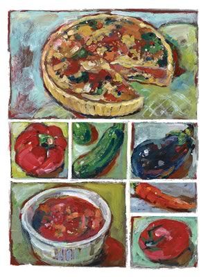 We quiche it as a mainstay of the winter freezer, with such backup variations as mushroom, spinach, zucchini, and onion along with a Quiche Lorraine or two. Illustration by Shelagh Armstrong.