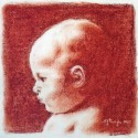 "S. J. Pringle ~ Sepia Baby 5"" x 5"" (chalk pastel)"