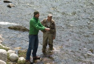 """With a few instructions from Mike Warrian, Tim Shuff had the gist of the cast. """"It turns out the more difficult part of fly fishing is not how you cast, but what you cast."""" Photo by Pete Paterson."""