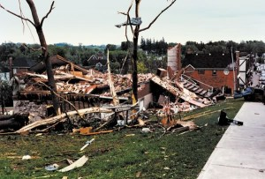 The 1985 tornado destroyed 66 buildings in Grand Valley, including the library shown here. The seven people in the library at the time survived. Photo by Les Canivet.