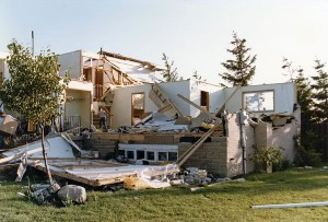 Debbie Molto, 18, was at home when the tornado struck on May 31, 1985. The house (above) was destroyed, but Debbie managed to escape unhurt.
