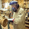"From his Bits and Pieces Studio in Mulmur, Jim Lorriman uses the concentric-ring lamination technique to fashion his distinctive decorative and functional ""stick bowls."""