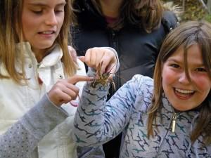 Madeline Hickey and Mackenzie Denreyer show off their new friend. Photos Courtesy Belfountain Public School.