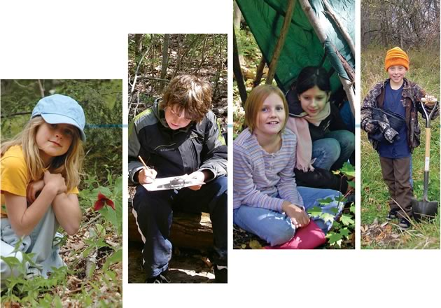 Ellie Eberlee spots a red trillium. Ryan Thompson makes open-air notes. Olivia Smith and Shawna Somers take refuge in their lean-to. David Madersbacher plants trees. Photos Courtesy Belfountain Public School.