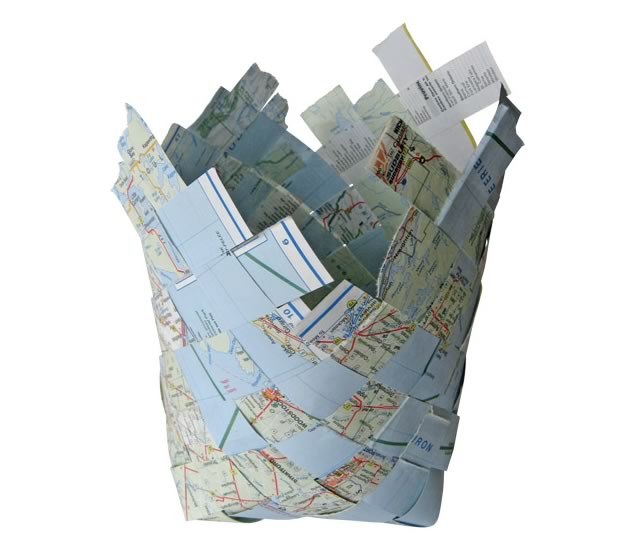 "Nancy Turner ~ Where do we go now? recycled woven ontario map 6"" x 6"" x 9"""