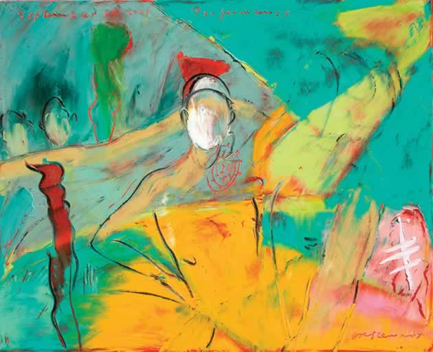 "Jim Stewart ~ Performance, 2009, 26"" x 32"" oil on canvas"