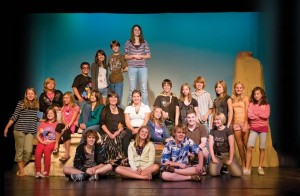 The cast and some of their mentors take a break from rehearsal. Back row, diagonally from left : Virginia Chambers, Rachel Griffith, Daniel Reale, Michelle Vieira, Michael McCreary, Leela Scott. Second row, seated : Jayde Lavoie, Justine Tompkins, Bridget O'Rourke, Jane Ohland Cameron, Erica Causi, Megan Saul. Second row, standing : David Draper, Lindsay Whiting, Eric Goldrup, Nicole Robertson, Holly Bus, Mariel Bulcan-Gnirss. Front row, sitting and kneeling : James Gerus, Jasmine Lagundzija, James Peters, Dean Harris, Megan McCreary. Photo by Pete Paterson.