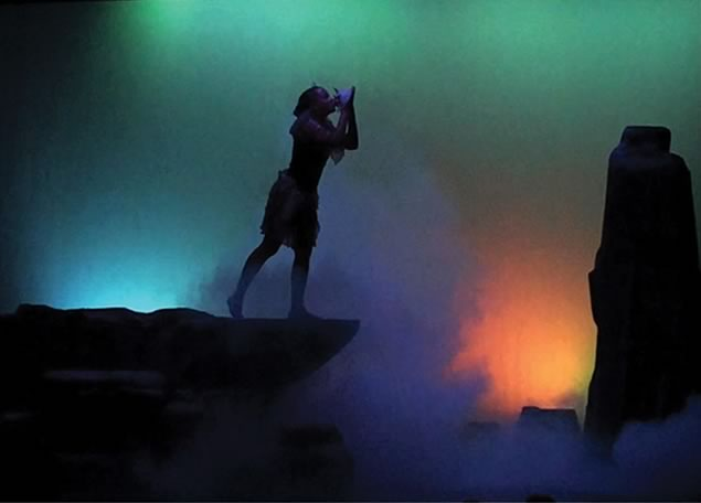Peter Pan - Flora conch scene. Photo courtesy of Theatre Orangeville.