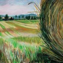 "Hallie Watson - Hay Bale And Barn, 27.5"" x 19.5"""
