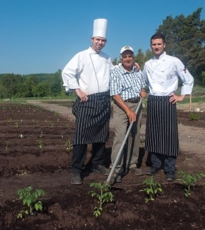 Hockley Valley Resort's executive chef George Madalena, head gardener Santo Bertucci and chef Daniel Mezzolo are three happy men as they anticipate a summer of fresh produce from the resort's large, new vegetable garden. Photo by Rosemary Hasner.