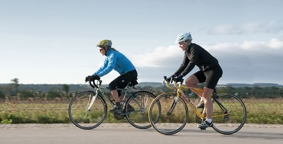 on the road : Karen Gillies, front, a veteran mountain biker,is introduced to the flat-out speeds of road biking by Nicola Ross. Photos Pete Paterson