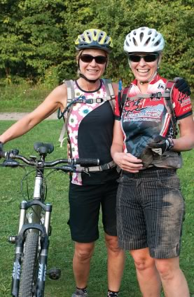 Karen and Nicola pose for their close-up after an eventful ride