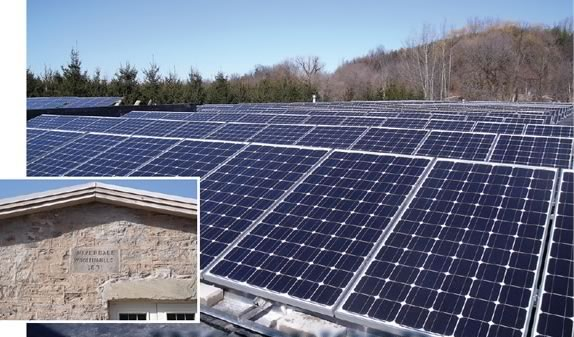 Solar panels cover the rooftop at the Riverdale Fitness Mill, generating 2oo kilowatts of power.