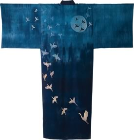 The kimono, Midnight Flight : Pat wove, dyed and constructed for Stitches Across Time. Photo by Pete Paterson