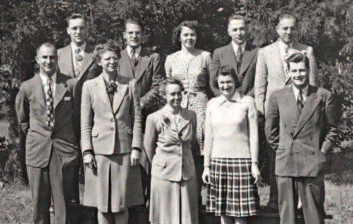 OHS staff, 1974. back, left to right : Gordon Gibson, Claude Kalbfleisch, Jean Dodds, Andrew Percy and John Hamilton. front, left to right : Maurice Cline, Marjorie Kidd, Elizabeth McPhedran, Edith Lyons and Robert Laughlin.