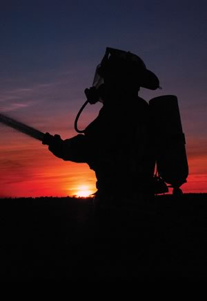 Firefighter at Sunset