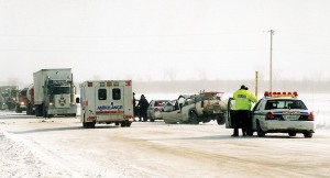 Emergency services arrive at a crash in snowy weather, Dufferin Road 109. Photo by Brandon Muir