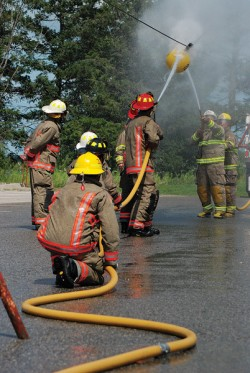 Grand Valley's champion men's waterball team in competition at the Ontario Fire Convention. Photo by Brandon Muir