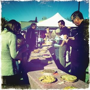 Judges at the fourth annual Creemore Heritage Apple Society's apple-pie contest. Photo by MK Lynde