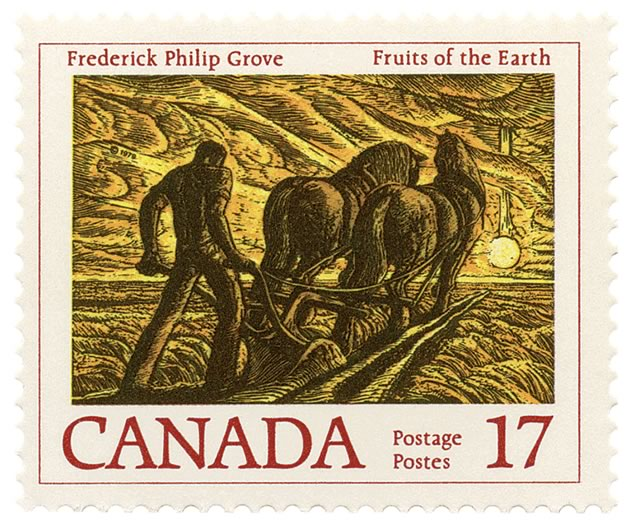 This image, commissioned by Canada Post as one of a series of stamps commemorating Canadian authors, illustrates the 1933 novel, Fruits of the Earth, by Frederick Philip Grove.