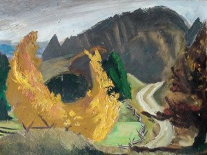 "Fourth Line West, Caledon (1950s), oil on masonite, 13.5"" x 12"" William Scobie Houstoun (1914–2005)"