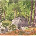 "Top of the Bluff (1930s), a study on the Caledon escarpment,pencil and watercolour, 15"" x 11"" William Scobie Houstoun (1914–2005)"