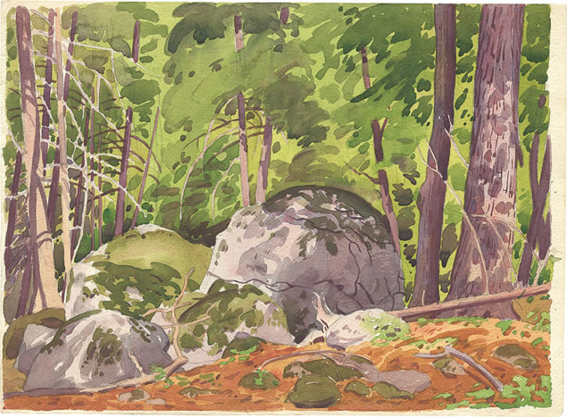 "Top of the Bluff (1930s), a study on the Caledon escarpment,pencil and watercolour, 15"" x 11"" William Scobie Houstoun (1914–2005)"