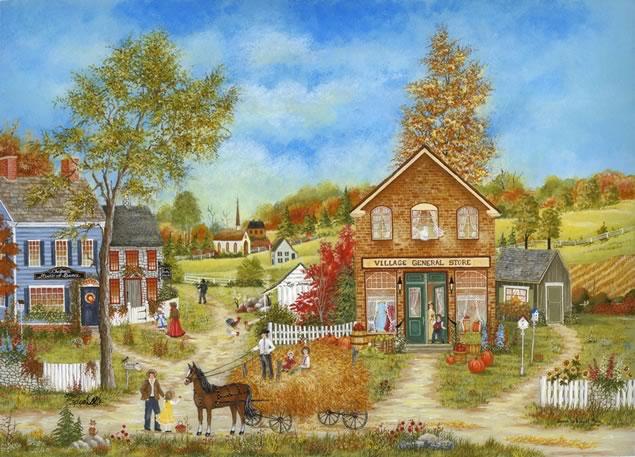 """Susan Mein ~ A Day In The Village, 16"""" x 12"""""""