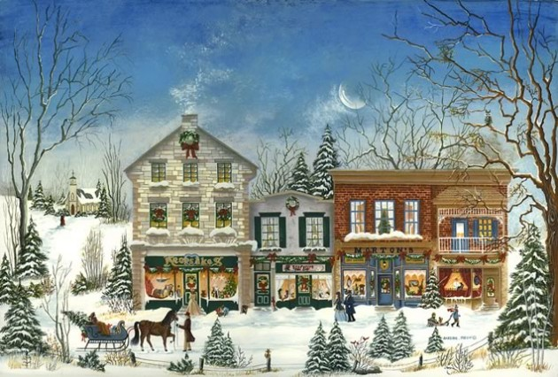 "Susan Mein ~ Christmas On Mill Street, 18"" x 12"""
