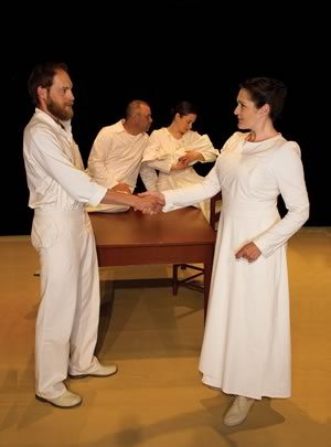 Deidre Gillard-Rowlings (right) plays nurse Myra Bennett with Darryl Hopkins as her husband Angus Bennett. Holding the newborn behind are actors Robert Wyatt Thorne and Willow Kean. Photo by Peter Buckle