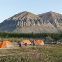 Fireweed Campsite below massive Fortress Mountain, high in the Mackenzie Mountains, nwt.