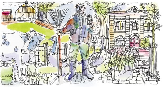 Living in an edge community, where the town meets the country. Illustration Shelagh Armstrong.