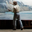 """Cory Trépanier in his studio on The Gore Road, working on """"Great Glacier."""""""