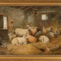 """Winter Shelter by Edwin Frederick Holt, 1887, oil on canvas, 24"""" x 18""""  Born in London in 1830, Holt was a silver medalist at the Royal Academy Schools. This image was reproduced on a Christmas card of the Rare Breeds Survival Trust. The sheep, New Leicesters, are """"bloom-dipped,"""" an identification practice of the day that fell out of favour when natural-coloured wool came to be preferred by the woollen industry. Photo by Pete Paterson."""