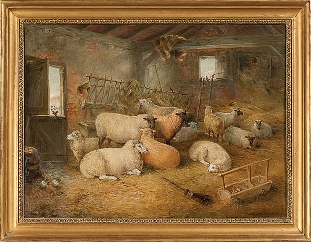 "Winter Shelter by Edwin Frederick Holt, 1887, oil on canvas, 24"" x 18"" Born in London in 1830, Holt was a silver medalist at the Royal Academy Schools. This image was reproduced on a Christmas card of the Rare Breeds Survival Trust. The sheep, New Leicesters, are ""bloom-dipped,"" an identification practice of the day that fell out of favour when natural-coloured wool came to be preferred by the woollen industry. Photo by Pete Paterson."