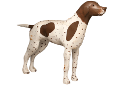 """Young Hound by Marc Lavoie, early to mid-20th century, painted wood, 24"""" high. Photo by Pete Paterson."""