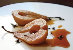 Poached Pears with Blueberry or Chocolate Sauce. Photo by Pete Paterson.