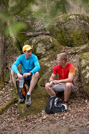 Writer Tim Shuff, left, no stranger to distance running, joined Cody for a training outing at Mono Cliffs. After an afternoon spent in Cody's dust, and some heart-to-heart discussion, Tim believes 22-year-old Cody has the right stuff to set a new end-to-end record on the Bruce Trail. Photo by Pete Paterson.